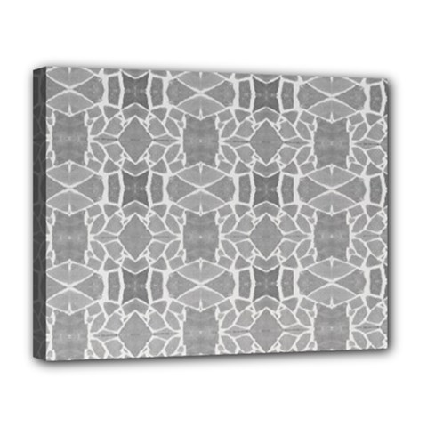 Grey White Tiles Geometry Stone Mosaic Pattern Canvas 14  X 11  (framed) by yoursparklingshop