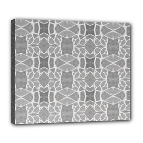 Grey White Tiles Geometry Stone Mosaic Pattern Deluxe Canvas 24  X 20  (framed)