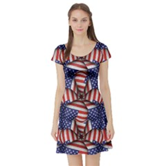 4th Of July Modern Pattern Print Short Sleeve Skater Dress by dflcprintsclothing