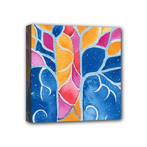 Yellow Blue Pink Abstract  Mini Canvas 4  X 4  (framed) by OCDesignss