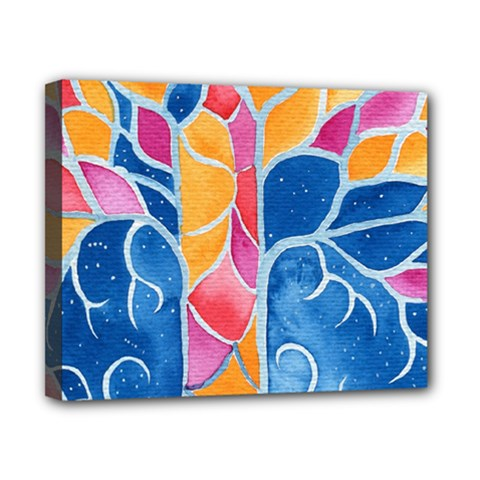 Yellow Blue Pink Abstract  Canvas 10  X 8  (framed)