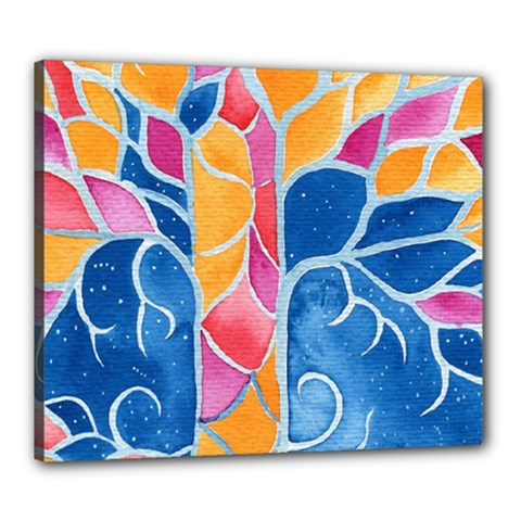Yellow Blue Pink Abstract  Canvas 24  X 20  (framed)