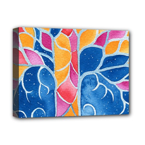 Yellow Blue Pink Abstract  Deluxe Canvas 16  X 12  (framed)