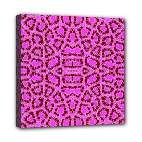 Florescent Pink Animal Print  Mini Canvas 8  X 8  (framed)