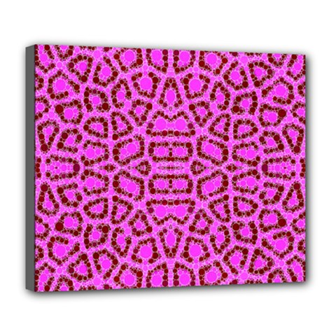 Florescent Pink Animal Print  Deluxe Canvas 24  X 20  (framed) by OCDesignss