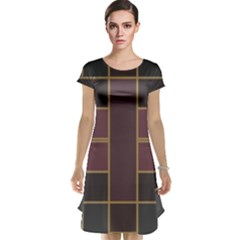 Vertical And Horizontal Rectangles Cap Sleeve Nightdress
