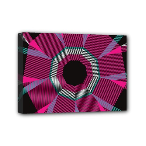 Striped Hole Mini Canvas 7  X 5  (stretched)