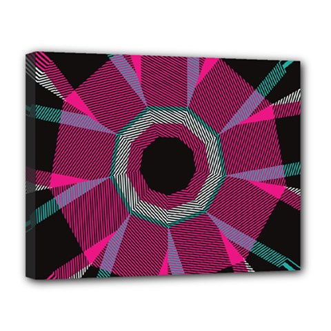 Striped Hole Canvas 14  X 11  (stretched) by LalyLauraFLM