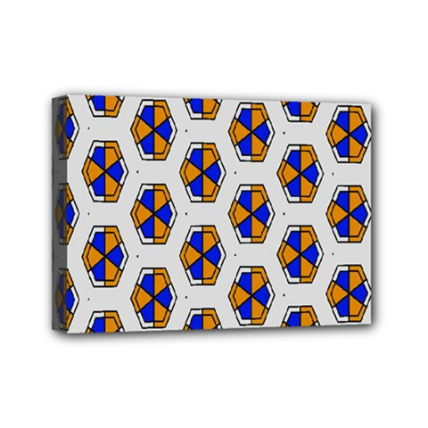 Orange Blue Honeycomb Pattern Mini Canvas 7  X 5  (stretched) by LalyLauraFLM