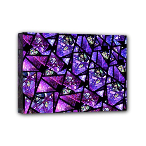 Blue Purple Glass Mini Canvas 7  X 5  (framed)