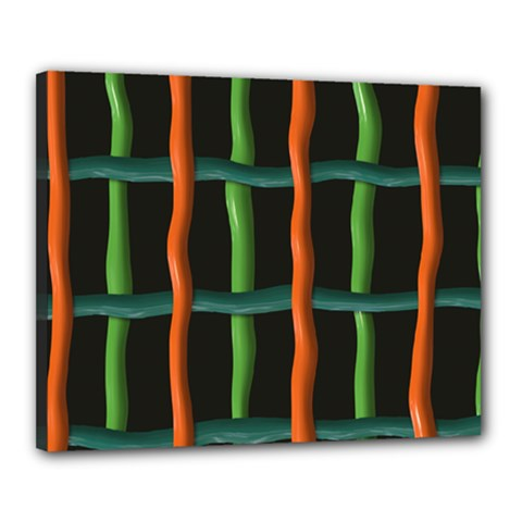 Orange Green Wires Canvas 20  X 16  (stretched) by LalyLauraFLM