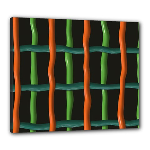 Orange Green Wires Canvas 24  X 20  (stretched) by LalyLauraFLM