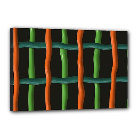 Orange Green Wires Canvas 18  X 12  (stretched) by LalyLauraFLM