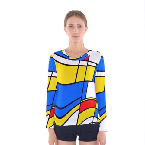 Colorful Distorted Shapes Women Long Sleeve T-shirt by LalyLauraFLM