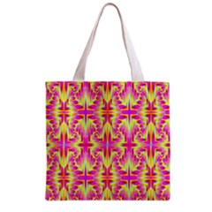 Pink And Yellow Rave Pattern Grocery Tote Bag