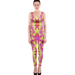 Pink And Yellow Rave Pattern Onepiece Catsuit by KirstenStar