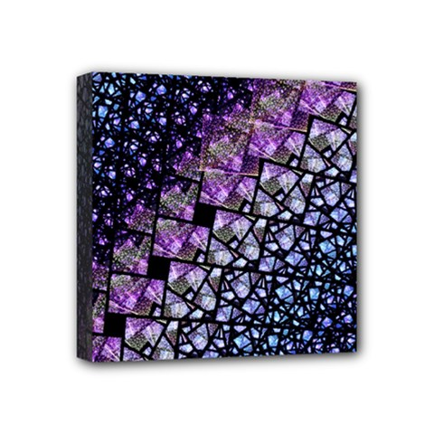 Dusk Blue And Purple Fractal Mini Canvas 4  X 4  (framed) by KirstenStar