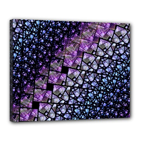 Dusk Blue And Purple Fractal Canvas 20  X 16  (framed) by KirstenStar