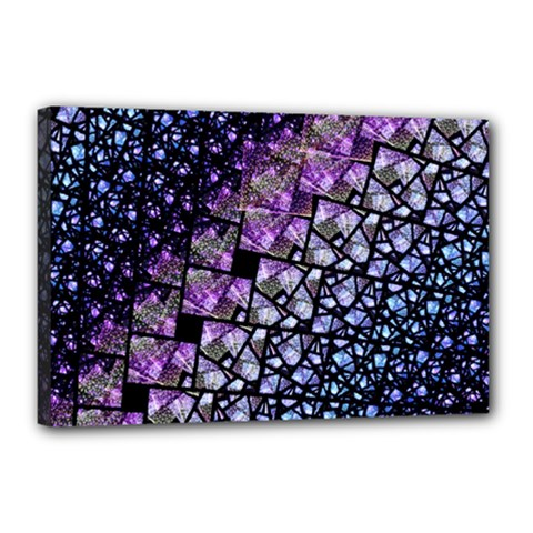 Dusk Blue And Purple Fractal Canvas 18  X 12  (framed) by KirstenStar