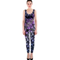 Dusk Blue And Purple Fractal Onepiece Catsuit by KirstenStar