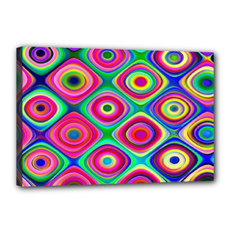 Psychedelic Checker Board Canvas 18  X 12  (framed) by KirstenStar