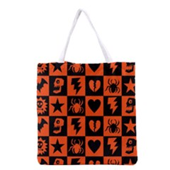 Goth Punk Checkers Grocery Tote Bag by ArtistRoseanneJones
