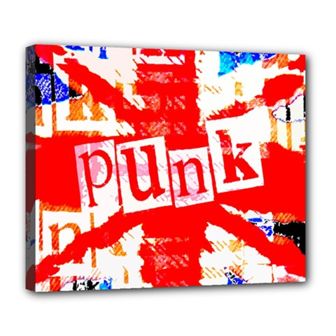 Punk Union Jack Deluxe Canvas 24  X 20  (framed) by ArtistRoseanneJones