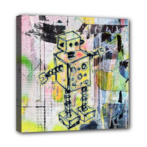 Graffiti Graphic Robot Mini Canvas 8  X 8  (framed) by ArtistRoseanneJones