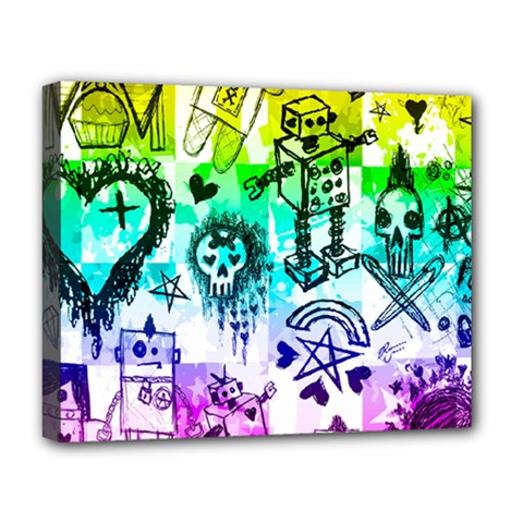 Rainbow Scene Kid Sketches Deluxe Canvas 20  X 16  (framed)