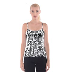 Robot Crowd Spaghetti Strap Top by ArtistRoseanneJones