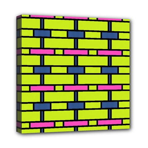 Pink,green,blue Rectangles Pattern Mini Canvas 8  X 8  (stretched) by LalyLauraFLM