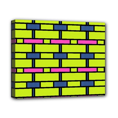 Pink,green,blue Rectangles Pattern Canvas 10  X 8  (stretched) by LalyLauraFLM