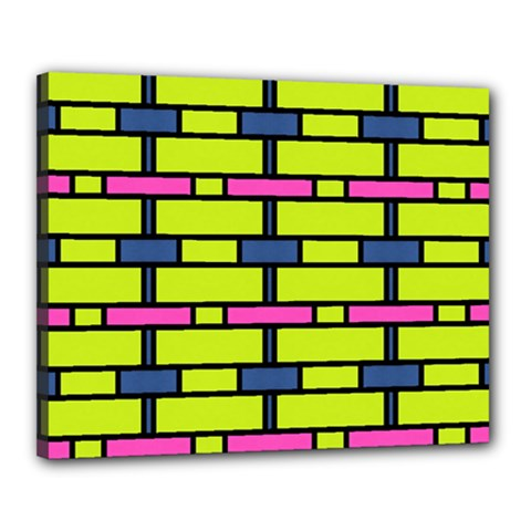 Pink,green,blue Rectangles Pattern Canvas 20  X 16  (stretched) by LalyLauraFLM