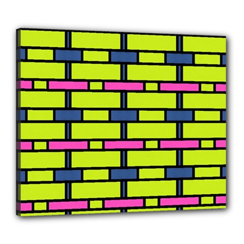 Pink,green,blue Rectangles Pattern Canvas 24  X 20  (stretched) by LalyLauraFLM