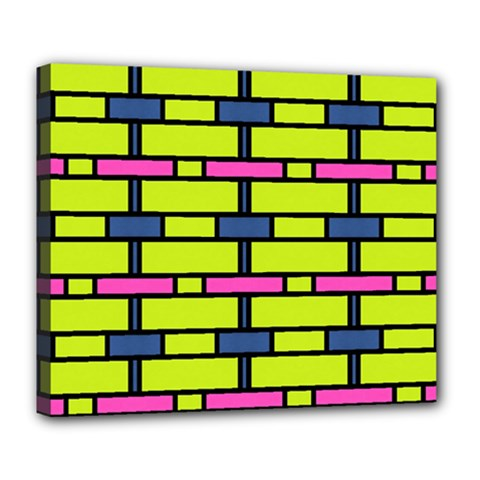 Pink,green,blue Rectangles Pattern Deluxe Canvas 24  X 20  (stretched) by LalyLauraFLM