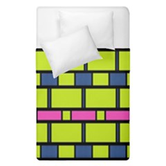 Pink Green Blue Rectangles Pattern  Duvet Cover (single Size) by LalyLauraFLM
