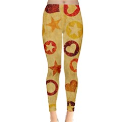 Shapes On Vintage Paper Leggings by LalyLauraFLM