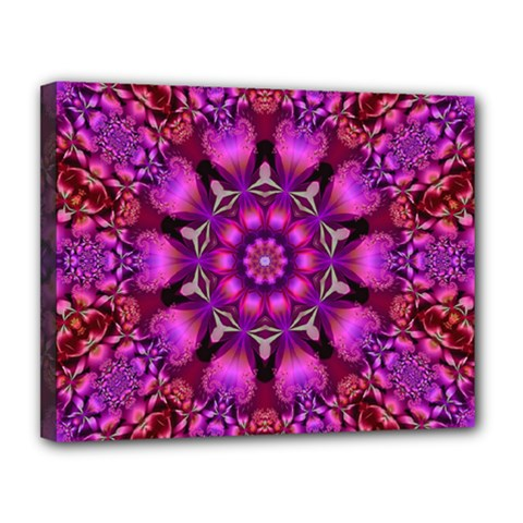 Pink Fractal Kaleidoscope  Canvas 14  X 11  (framed) by KirstenStar