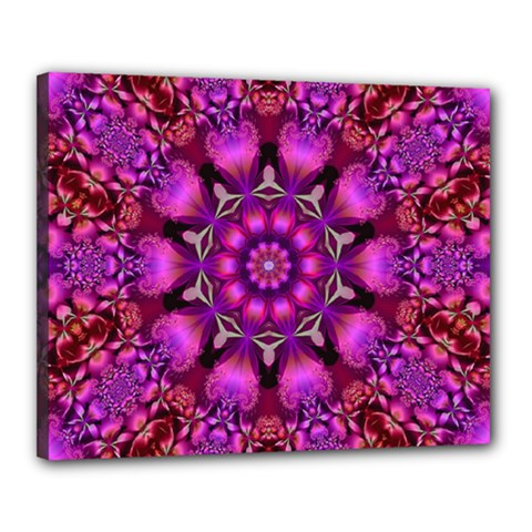 Pink Fractal Kaleidoscope  Canvas 20  X 16  (framed) by KirstenStar