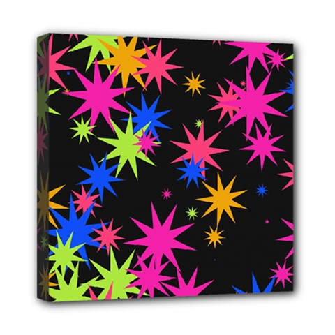 Colorful Stars Pattern Mini Canvas 8  X 8  (stretched) by LalyLauraFLM