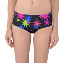 Colorful Stars Pattern Mid-waist Bikini Bottoms by LalyLauraFLM