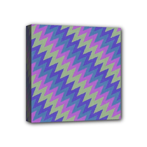Diagonal Chevron Pattern Mini Canvas 4  X 4  (stretched)