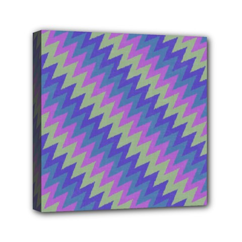 Diagonal Chevron Pattern Mini Canvas 6  X 6  (stretched) by LalyLauraFLM