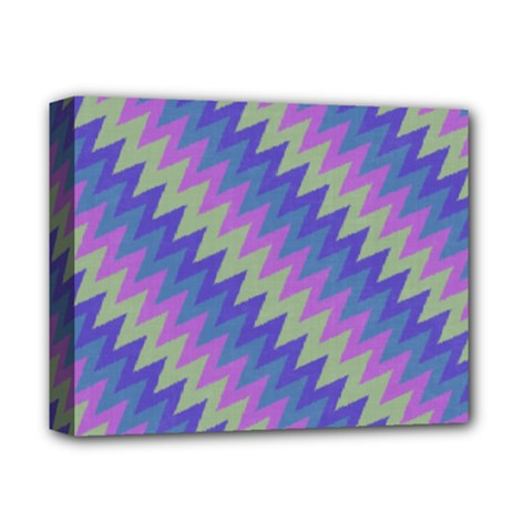 Diagonal Chevron Pattern Deluxe Canvas 14  X 11  (stretched) by LalyLauraFLM