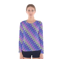 Diagonal Chevron Pattern Women Long Sleeve T Shirt