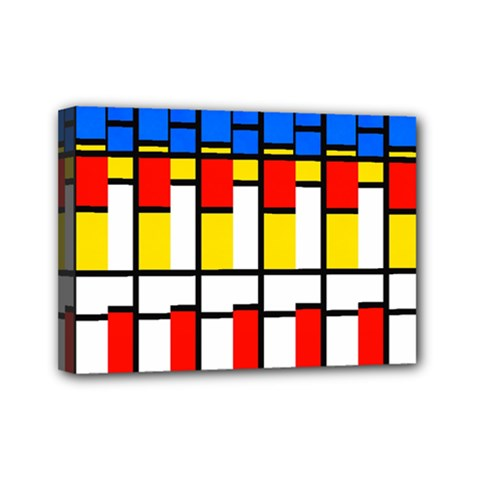 Colorful Rectangles Pattern Mini Canvas 7  X 5  (stretched) by LalyLauraFLM