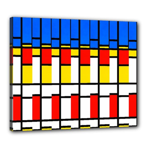 Colorful Rectangles Pattern Canvas 24  X 20  (stretched) by LalyLauraFLM