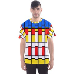 Colorful Rectangles Pattern Men s Sport Mesh Tee