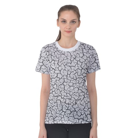 Cracked Abstract Print Texture Women s Cotton Tee by dflcprintsclothing
