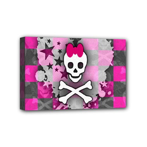 Princess Skull Heart Mini Canvas 6  X 4  (framed)